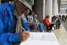 Peintres un jour pluvieux à Venise